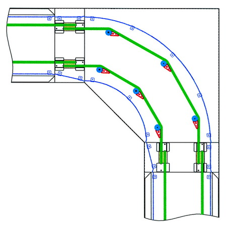 Cord tray conveyor curve right angle curve