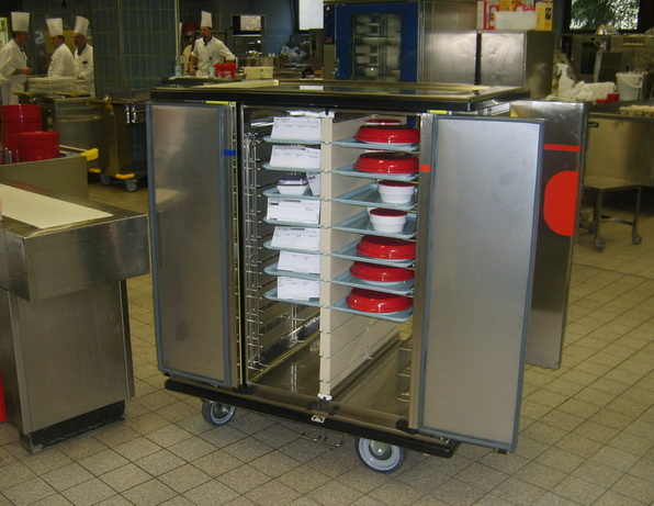 Single tray hot and cold trolley doors open